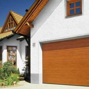 wood garage door on a house