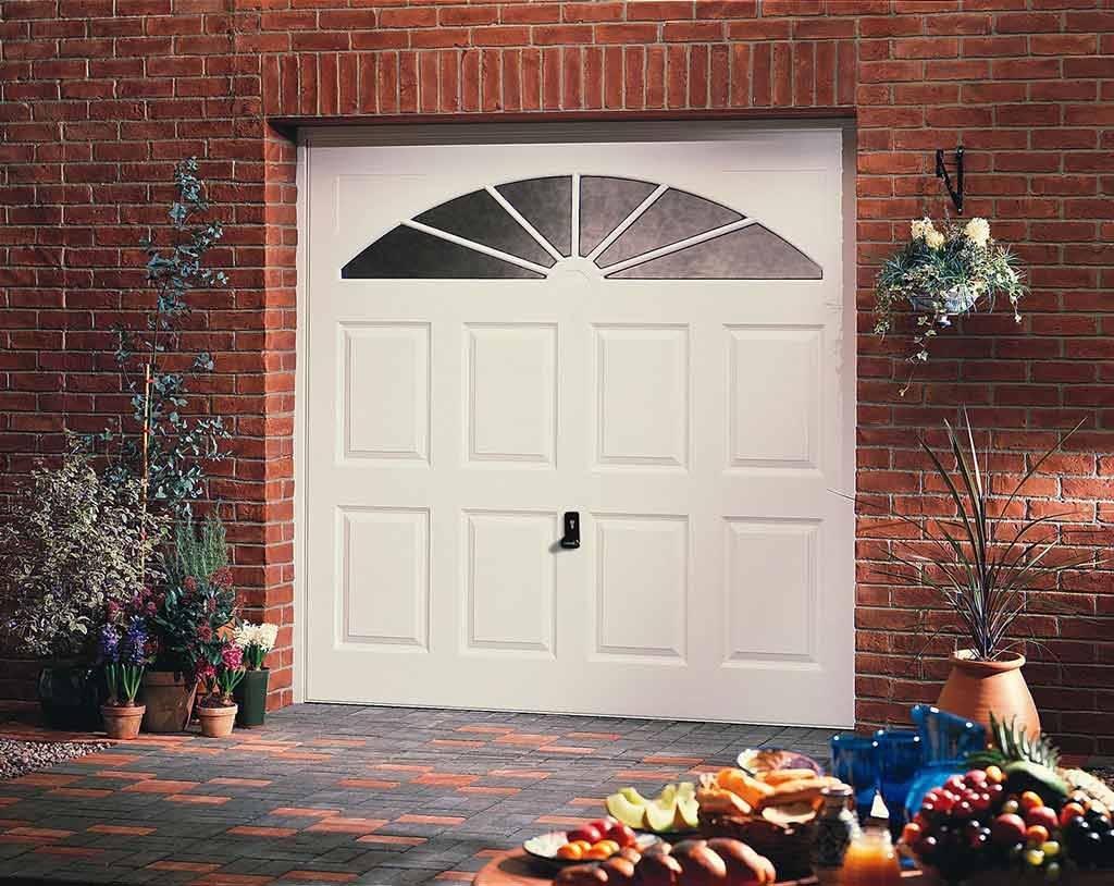 up and over white garage door